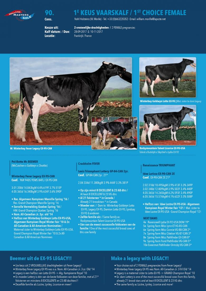 Datasheet for 1st Choice FEMALE: BEEMER x Winterbay Fever Legacy EX-95-CAN
