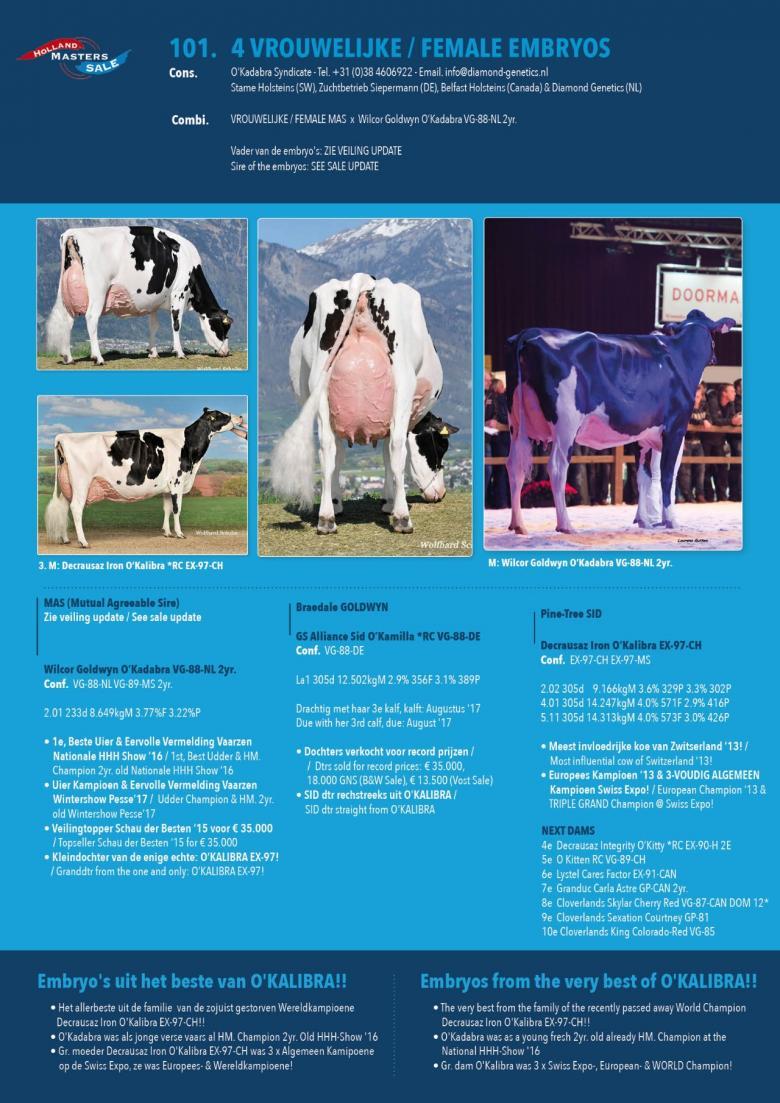 Datasheet for FEMALE embryos: #4 MAS x Wilcor Goldwyn OKadabra VG-88-NL 2yr.