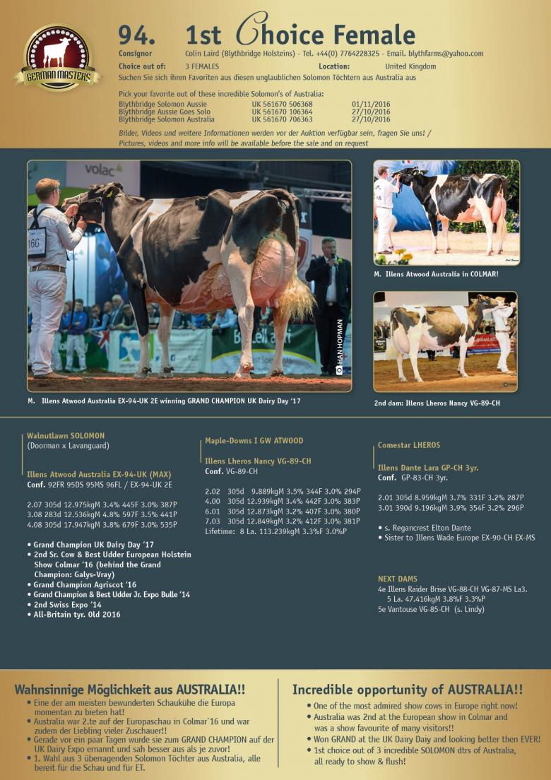 Datasheet for Lot 94. 1st Choice Female