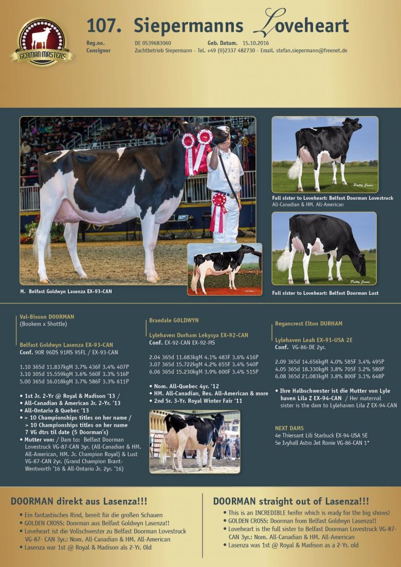 Datasheet for Lot 107. Siepermanns Loveheart