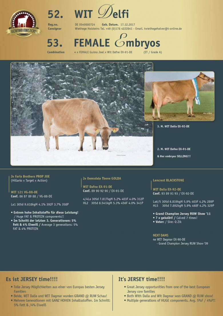 Datasheet for Lot 53. FEMALE embryos