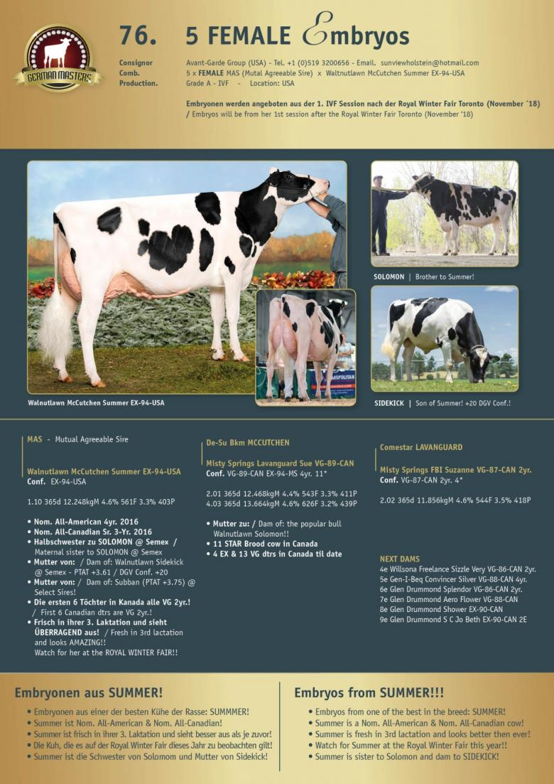 Datasheet for Lot 76. 5 FEMALE embryos