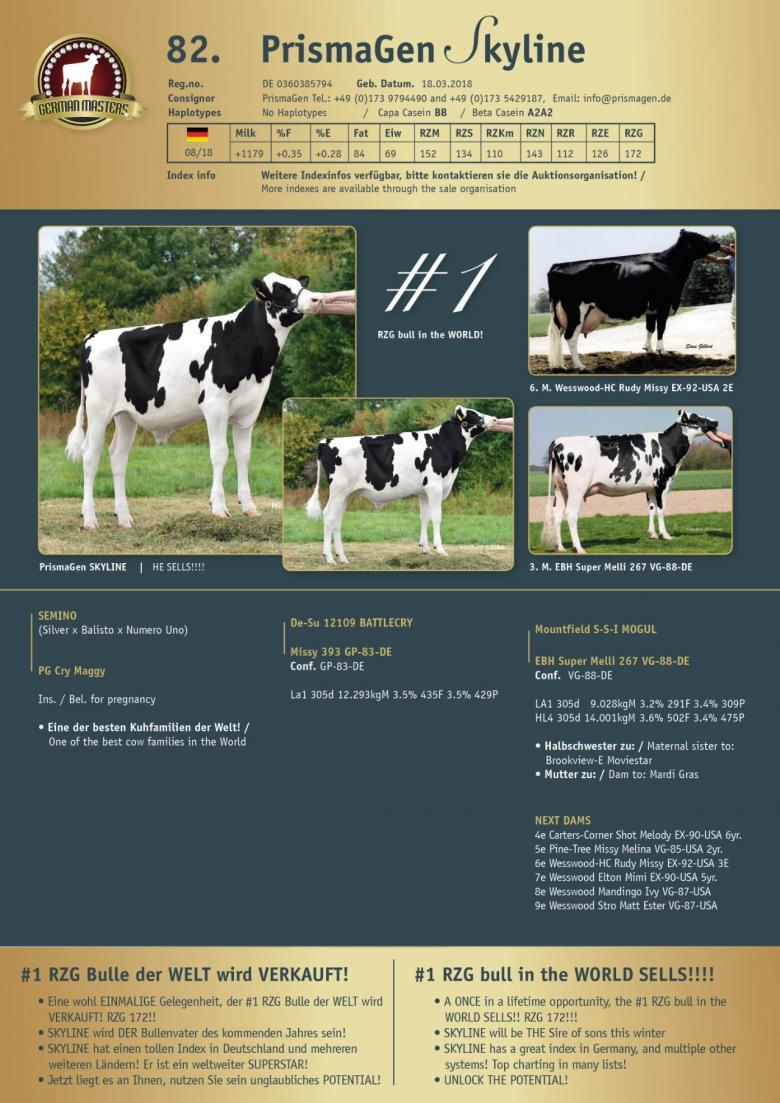 Datasheet for Lot 82. PrismaGen Skyline - SELLS in one package with Lot 83.