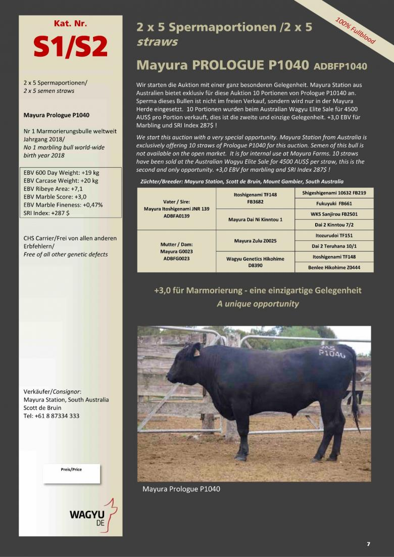 Datasheet for Lot S1. 5 straws: Mayura PROLOGUE P1040