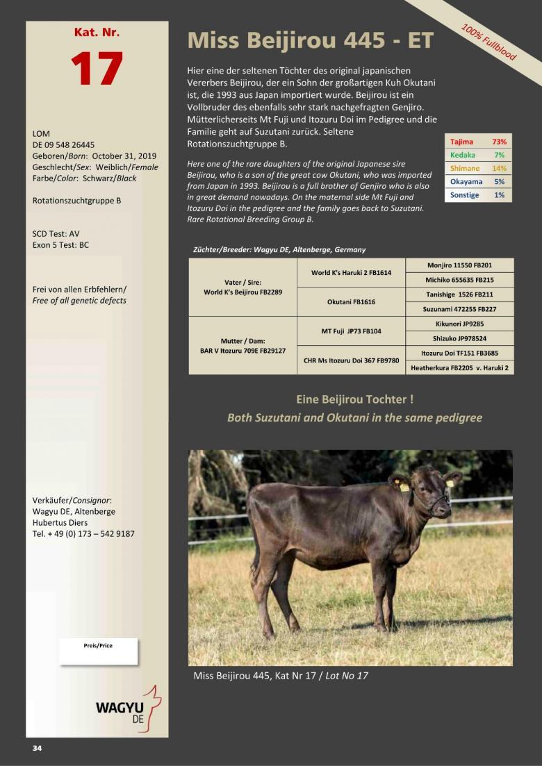 Datasheet for Lot 17. Miss Beijirou 445-ET