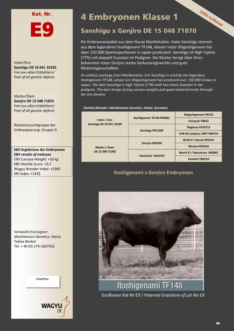 Datasheet for Lot E9. 4 embryos (Grade A) Poll Wagyu N0272 x  Genjiro DE 15 048 71780