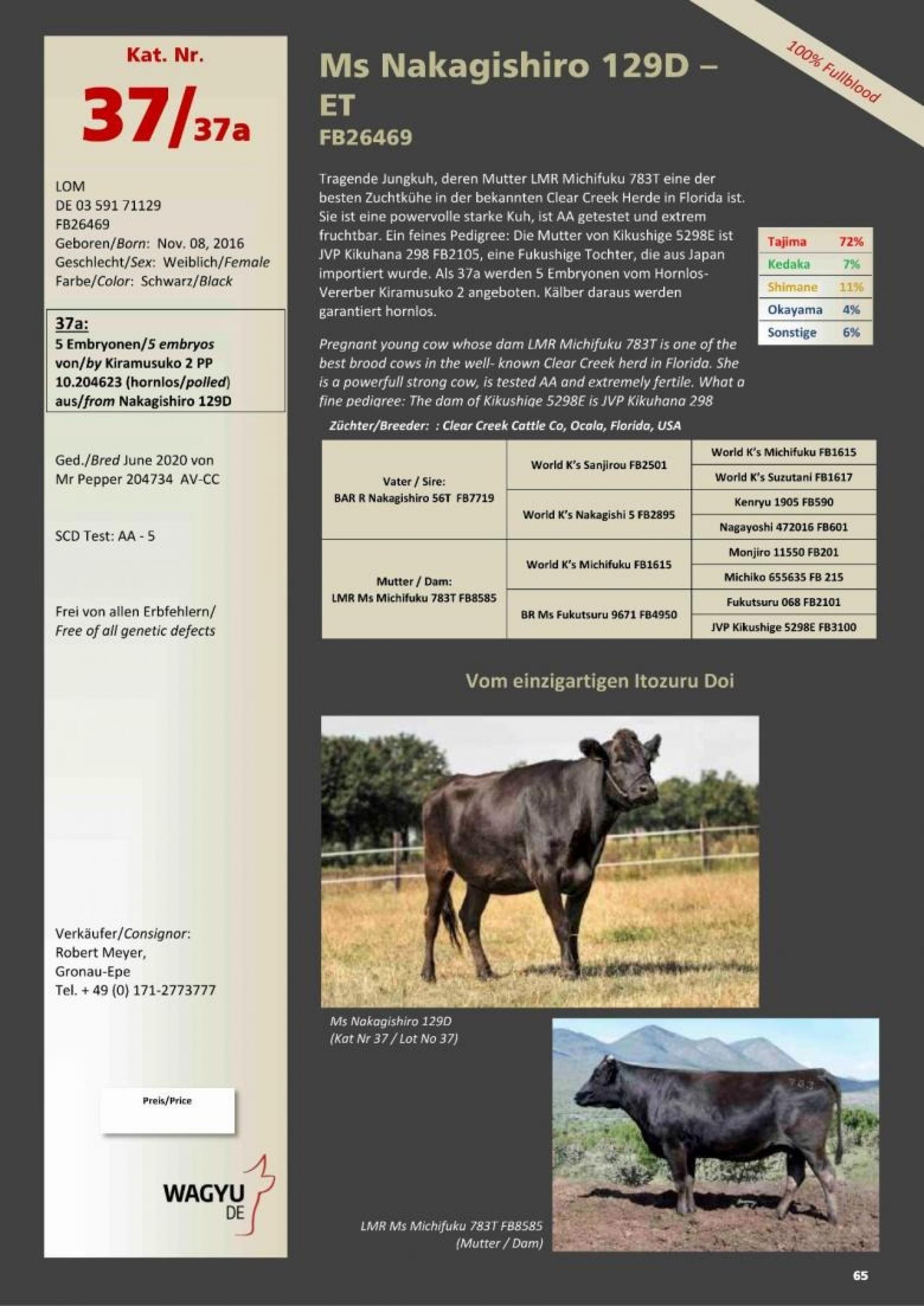Datasheet for Lot 37A. 5 embryos (Grade A) Kiramusuko 2 PP 10.204623 x Ms Nakagishiro 129D-ET FB26469